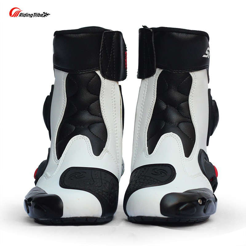 цена на Botas moto Hombre motorcycle boots Pro-biker Speed Bikers Moto Racing Motocross Leather Shoes A004 Black/red/white Free Shipping