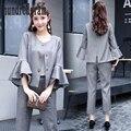 Весной новый женская одежда из двух частей костюм шею семь рог рукав пальто брюки костюм Slim-dod454