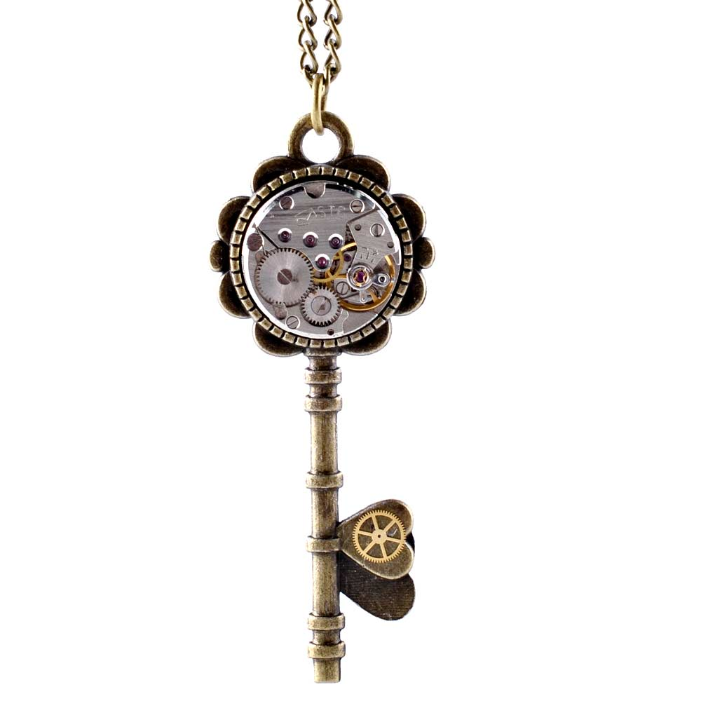 Steampunk Jewelry Vintage Key Pendant Watch Movement Gears Necklace Unique Handmade Jewelries Long Sweater Chain