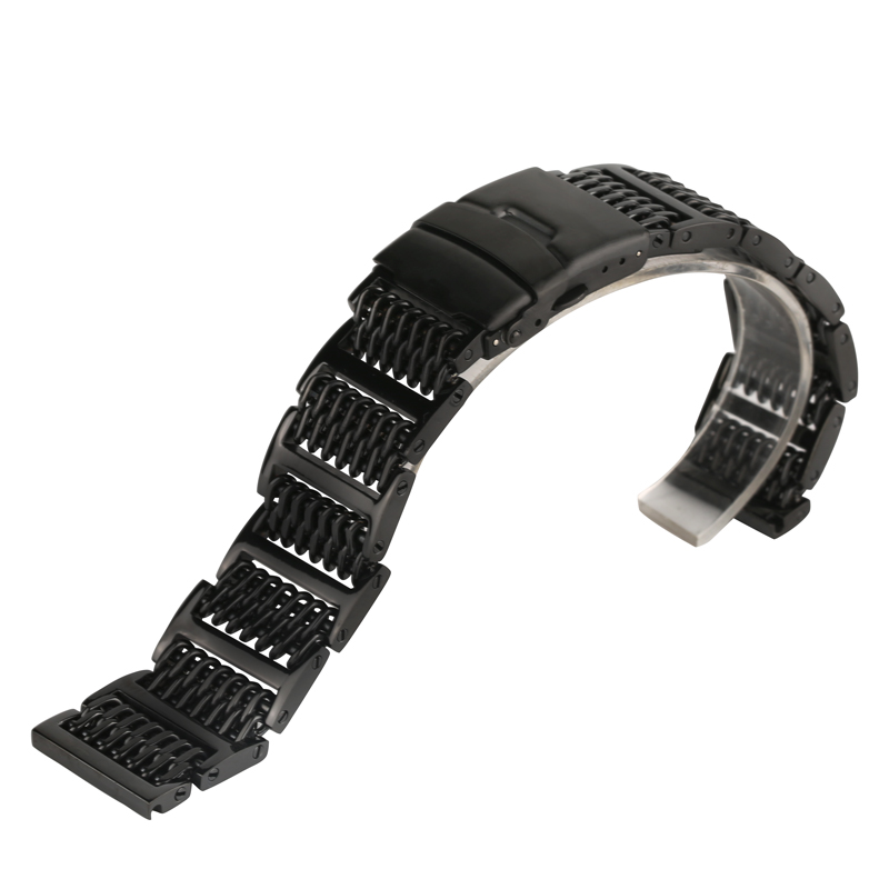 Black Mens Stainless Steel Watch Band Metal Bracelets For Men Wrist Watches 20mm/22mm/24mm Push Buckle Watch Strap for Hour 20mm 22mm 24mm 26mm black stainless steel buckle for watch strap band free shipping