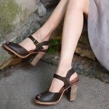 Artmu Original New Peep Toe Women Sandals Retro Genuine Leather High Heels Shoes Buckle Handmade Women's Shoes 215-07