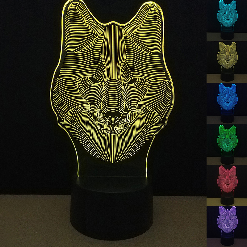 Новинка 7 цветов Изменение волк Светящиеся игрушки 3D Визуальный Touch USB Детские спальные свет для Новый год Для детей удивительные подарки