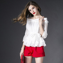 2015 new 2 piece set women shorts and top casual outfits white Slash neck chiffon Princess Blouse red + short pants suits OM225