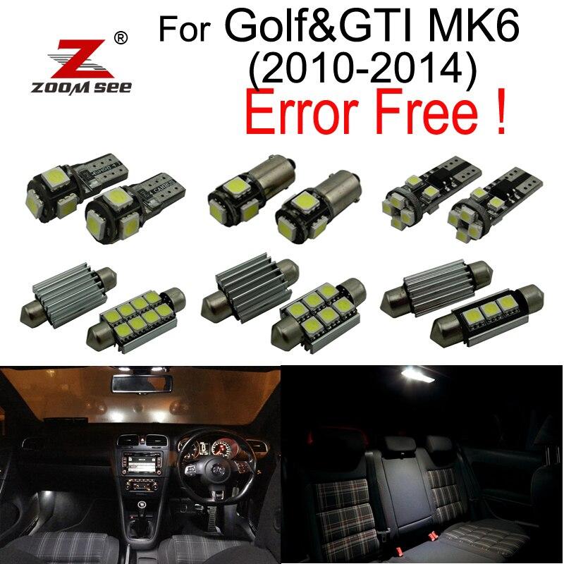 14 pz LED License Plate Lampadina + Decoder + Luci di lettura Interne Kit per Volkswagen VW GOLF 6 MK6 MK GTI VI (2010-2014)