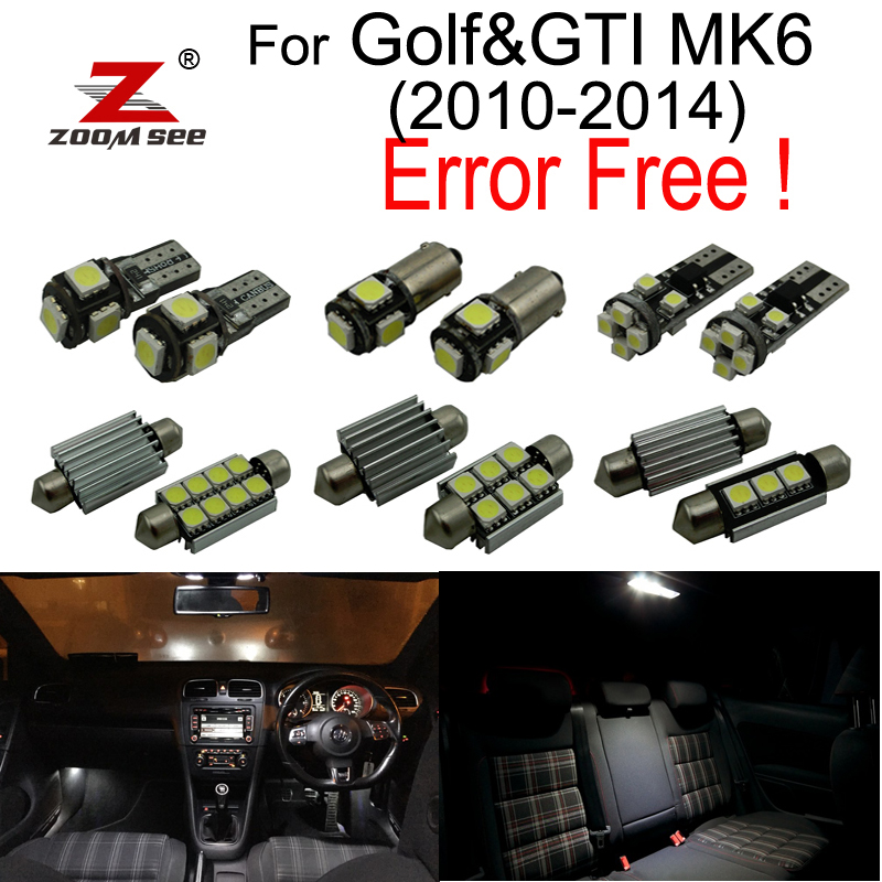 14pcs LED Lâmpada de placa + Decodificador + Kit de luzes de leitura interior para Volkswagen VW GOLF 6 MK6 MK VI GTI (2010-2014)