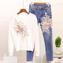 bace8fffbb1f Mooirue otoño mujeres flor conjuntos dulce perla flor bordado punto Tops +  Denim azul Pantalones mujer blanco rosa traje