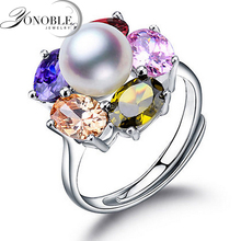 Lady pearl ring silver 925 wedding rings adjustable pair big Natural Pearl ring for women wife birthday gift white engagement white pink purple natural freshwater pearl wedding ring adjustable rings for wife hot sale