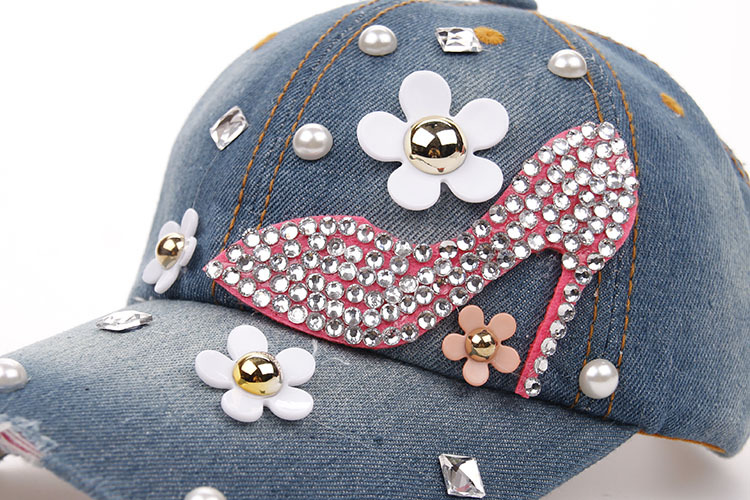 Details. Baseball Cap for Women and Teen Girls Fashion Leisure Rhinestones  Jean Cotton 744ca83f0114