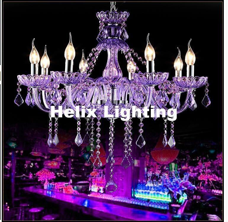 Художественное украшение, Современная фиолетовая хрустальная люстра K9, люстра из кристаллов E14, светодиодный, переменный ток