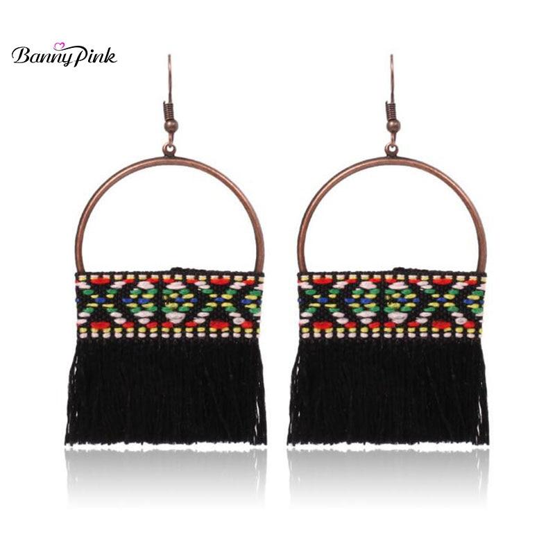 Banny Pink Bohemia Tassel Earrings For Women Ethnic Geo Pendant Drop Earrings Colorful Weaved Earrings Fashion Jewelry Pendiente