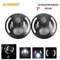 Auxmart  2x 7'' 60W 8D chips led Projector Headlights seal Hi-Lo beam halo ring Fog DRL for JEEP JK TJ CJ Land Rover Defender
