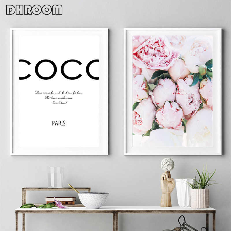 Fashion Blush Pink Wall Art Peonies Print Coco Quote Poster Inspirational Canvas Picture Painting Living Room Bedroom Decor