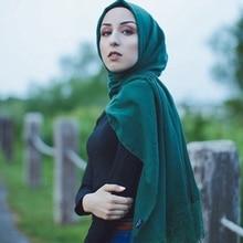 One piece high quality hot women muslim solid plain cotton hijabs long georgette scarf shawls islamic headwear wraps scarves