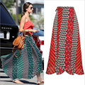 Бесплатная доставка новые женщины шифон печати нерегулярные юбка высоких талии длинные юбки печати моды в Европе и Америке