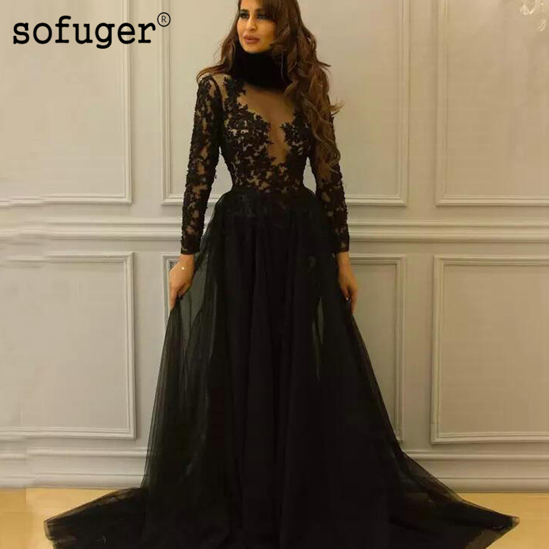 Sofuge Black Long Sleeve   Evening     Dresses   Black Lace Appliques Long Transparent Sleeve Tulle Arabic Muslim Special Occasion