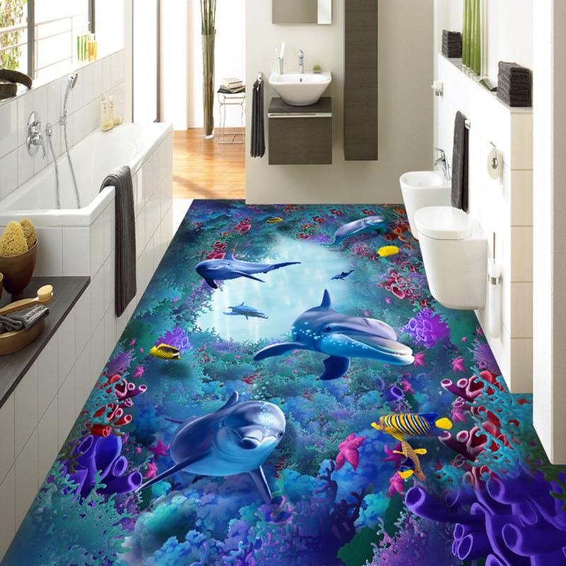 Custom 3D Floor Tiles Wallpaper Marine World Seaweed Coral Dolphin Murals Sticker Kids Bedroom Living Room PVC 3D Flooring Mural