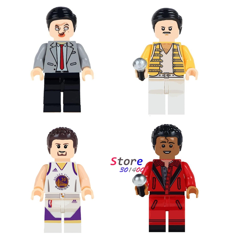 Single Mr. Bean Freddie Mercury Singer Basketball Michael Jackson Stephen Curry building blocks bricks toys for children фанатская атрибутика nike curry nba