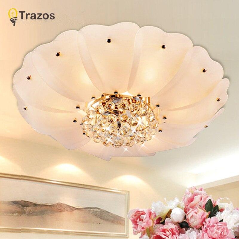 ФОТО 2017 Warm home Led Ceiling Lights decoration for living room luminarias para sala de jantar crystal flower shade lamp