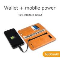 6800mah magnet conversion plug wallet bag Mobile phone power bank Multifunction External Battery PowerBank for Xiaomi iPhone 7 X