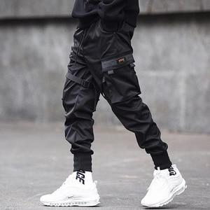 Image 2 - April MOMO 2020  Men Multi pocket Harem Hip Pop Pants Trousers Streetwear Sweatpants Hombre Male Casual Fashion Cargo Pants Men