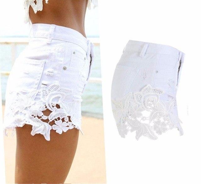 c8d2d361 US $14.99 |Biały Moda hollow out kwiat wzór koronki patchwork denim szorty  damskie dżinsy spodnie lato style feminino plus size w Biały Moda ...