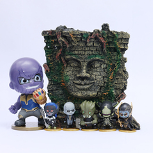 [Funny] 7pcs/set The Avengers Infinity War Thanos Q style figure model mayan civilization queen statue scene Room decoration toy