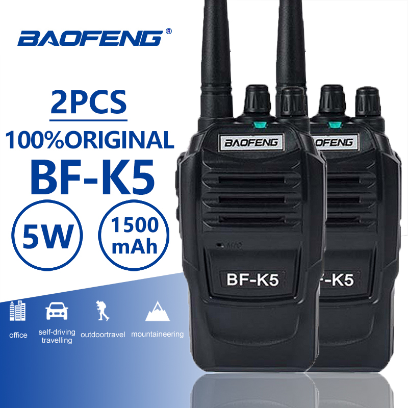 2Pcs Baofeng BF K5 Hotel Walkie Talkie PTT UHF Two Way Radio Comunicador Handheld HF Transceiver Cb Radio K5 Ham Radio Woki Toki