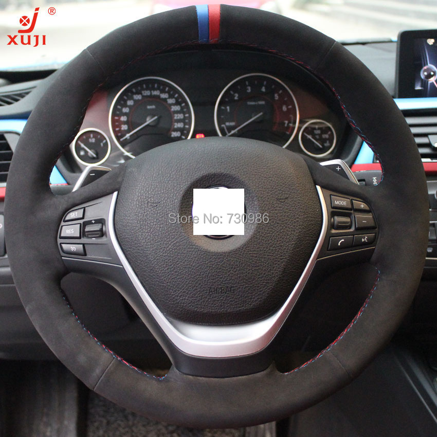 XuJi Black Suede Steering Wheel Cover For BMW F30 320i