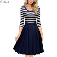 VITIANA Women Slimming Clothing Autumn Casual Striped Bodycon Dress Striped Patchwork O Neck Office Dresses Vestidos