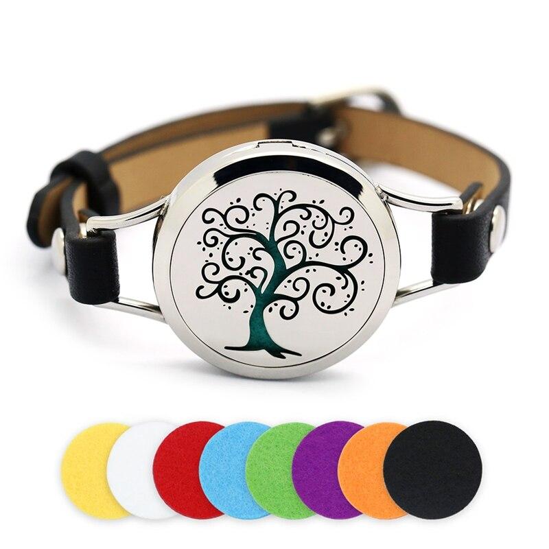30mm Argent Magnétique Arbre de Vie En Acier Inoxydable Aromathérapie Huile Essentielle Médaillon Bracelet Diffuseur Médaillon Bracelet En Cuir
