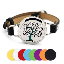 30mm Silver Magnetic Tree of Life Stainless Steel Aromatherapy Essential Oil Locket Bracelet Diffuser Leather