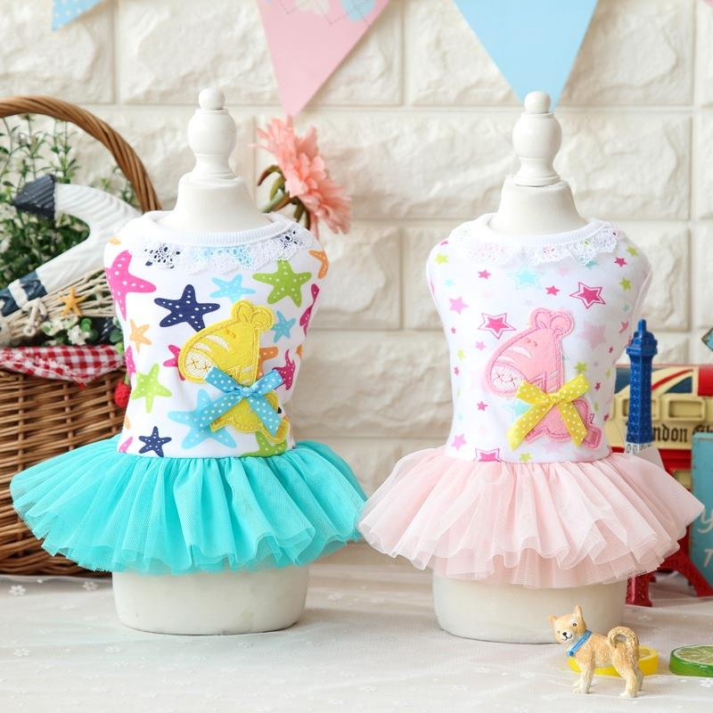 Cartoon Stars Trojan Horse Lace Dog Pet Dresses Girls Clothes for Dogs Cat Wear Products for Pets Yorkie Maltese Chiwawa