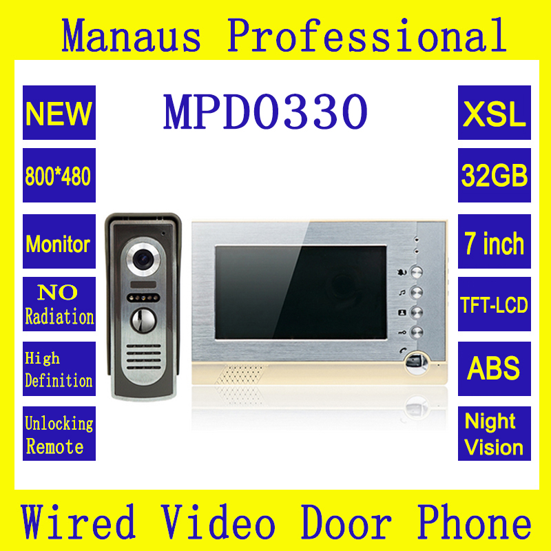 7 inch Screen Video Intercom with Take and Storage Photos Night Vision Waterproof Video Door Phone Support 32G Memory Card D0330 dahua standalone time attendance support ic 13 56mhz card within sd card storage photos asa2212a video doorphone accessory