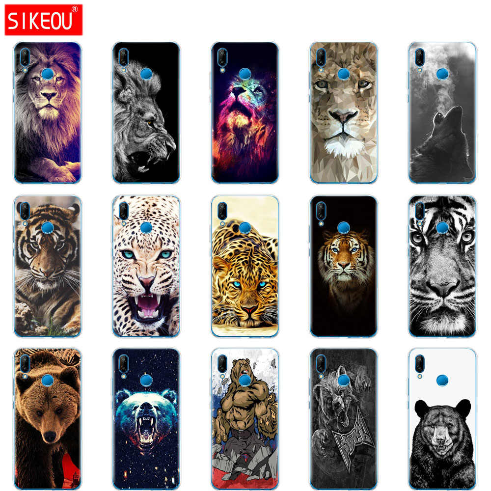 "Silicone phone Case For 5.84"" Huawei P20 Lite Case for P 20 Lite Case Patterned back cover wolf tiger lion Leopard bear"
