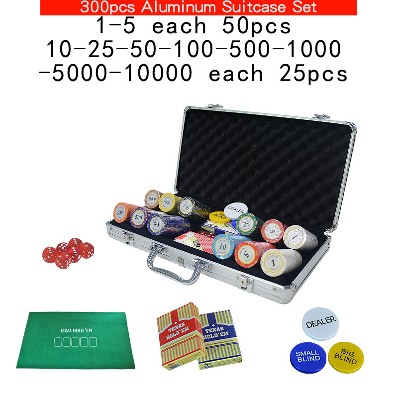 100~500Casino Texas Clay poker chips set Las Vegas Pokers Aluminum Suitcase with Playing cards&Dealer Buttom& Cloth <font><b>LasVegas</b></font> image