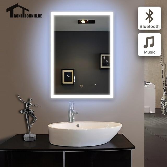 US $219.99 |50x70 cm Bluetooth BELEUCHTET Bad spiegel bad spiegel im  badezimmer LED piegel badkamer GLAS SPIEGEL Wand IP44 E102B 90 240 v in  50x70 cm ...