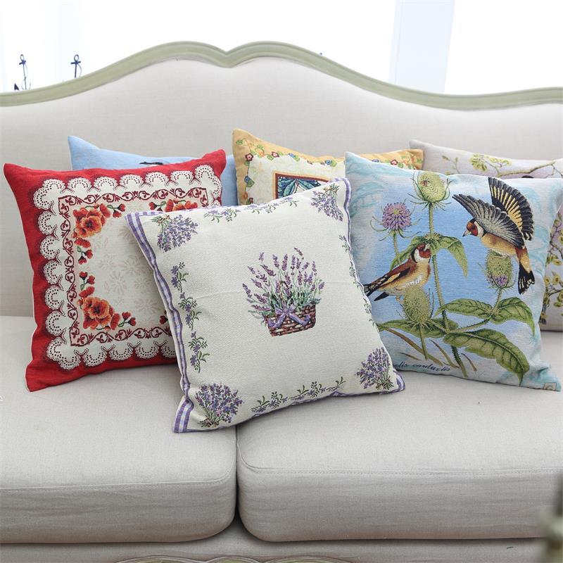 45 cm x 45 cm coussins de siège en coton fleurs et oiseaux impression coussin chaise Style américain fenêtre siège traversin taies d'oreiller