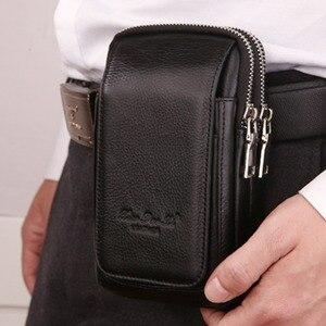 Мужская поясная сумка из натуральной кожи, двойной кошелек на молнии, сотовый/мобильный телефон, Карманный Чехол-сигарета, кошелек для моне...
