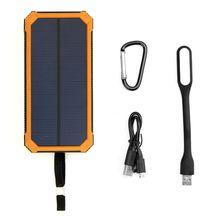 Banco de la energía solar 15000 mah cargador solar portátil con lámpara led para iphone samsung htc nexus ipad yoga tab y más