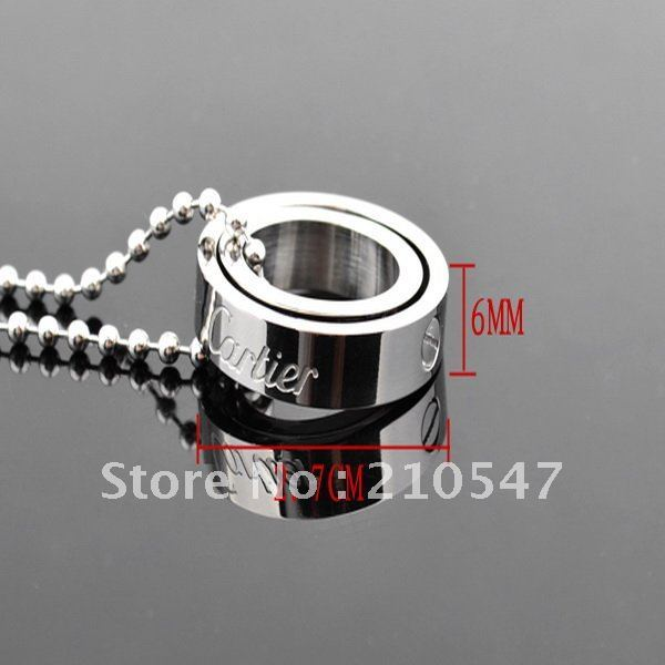 316L Stainless steel silver polshing two ring love pendant & beads chain neckace fashion steel necklace pendant jewelry DZ118
