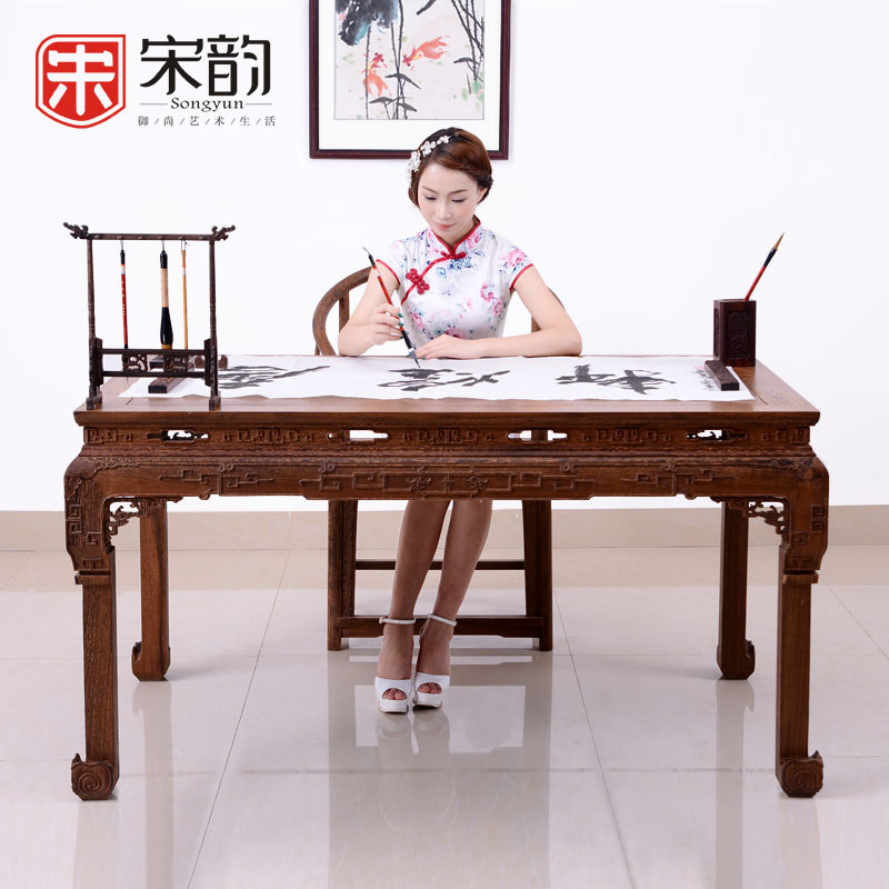 Song Yun Chinese Antique Mahogany Case Study Furniture Wooden Table Calligraphy Painting Wood Table Desk