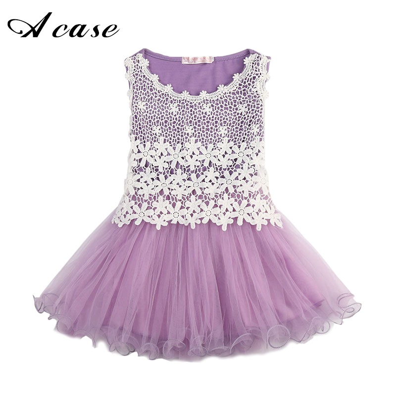 2018 Summer New Lace Flowers Girls Vest Dresses High Quality Toddler Tutu Ball Gown Clothing Hollow Mesh Kids Sleeveless Dress 2017 new fashion spring summer girls clothing sleeveless hollow out lace dress for kids children tutu vest dress pink white
