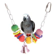 Pet Parrot Chew Strand Wooden Ball Beads Rope Bell Sound Colorful Creative Parakeet Bite Toys Hanging Cage Birds Toy