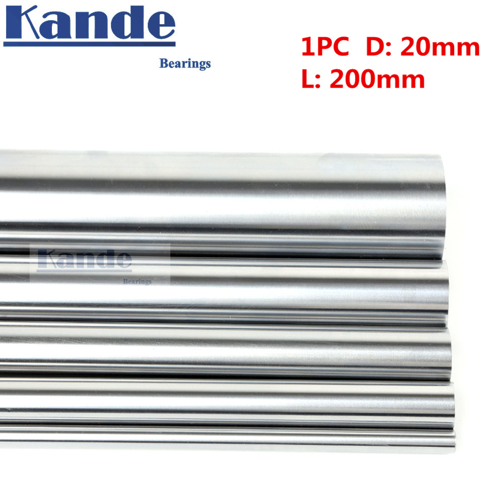 Kande Bearings 1pc d:20mm  200mm 3D printer rod shaft 20mm linear shaft  chrome plated rod shaft CNC partsKande Bearings 1pc d:20mm  200mm 3D printer rod shaft 20mm linear shaft  chrome plated rod shaft CNC parts