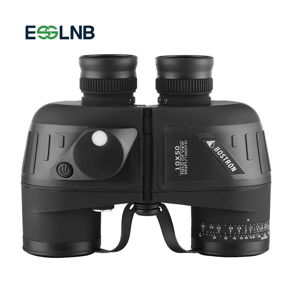 Military Waterproof Binocular 10x50 Navy Telescope Binocular With Rangefinder and Compass Fully Multi coated BAK4 Prism FMC Lens