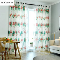 XYZLS Korean Style Curtains for Living Room Flamingo Printed Blind Drapes Window Panel Semi shading Curtains for Bedroom 1Piece