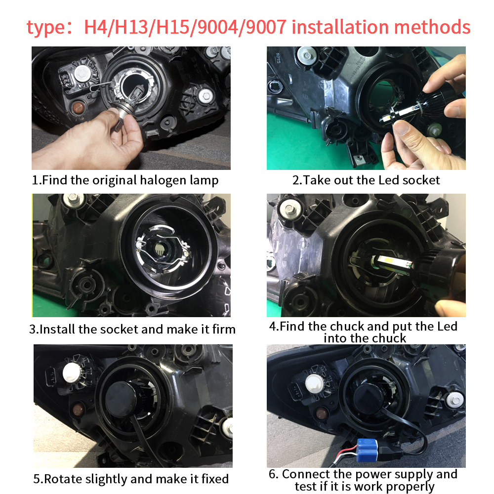 Image 5 - H4 led headlight 9004 9007 H13 H15 cob auto led Car Bulb 6000K 12V lampada light source waterproof aluminume H4 lamp-in Car Headlight Bulbs(LED) from Automobiles & Motorcycles