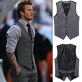 New 2014 Spring Men Suit Vest Slim Fit Mens Casual Waistcoat Business Jacket Tops 3 Buttons Free Shipping M-XXL