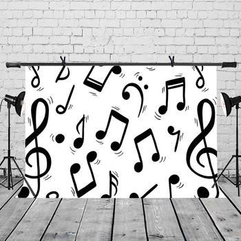 Telón De Fondo De Fotografía Blanca | Telón De Fondo Con Símbolo De Música De 7x5 Pies