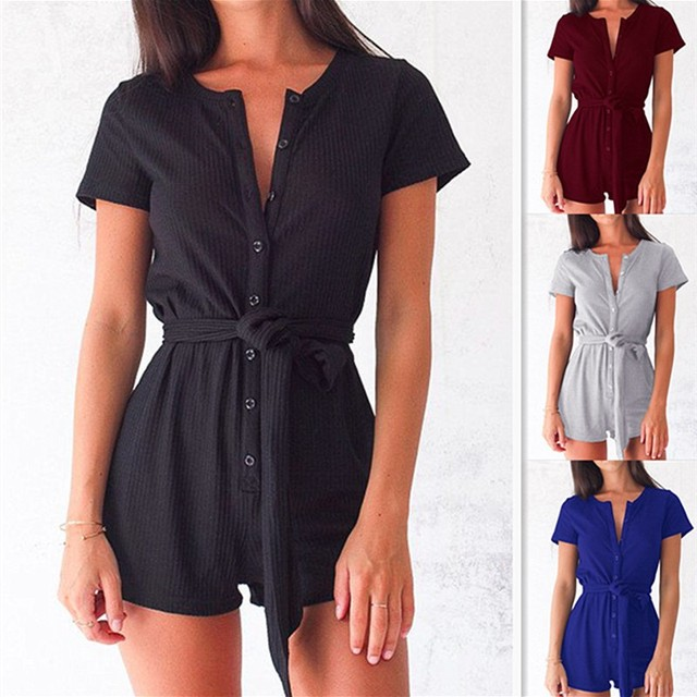9176392a1c25 New Arrival Short Sleeve Summer Style Beach Rompers Women Black Gray Plus  Size V-Neck Jumpsuit Casual Ladies Sexy Rompers Female